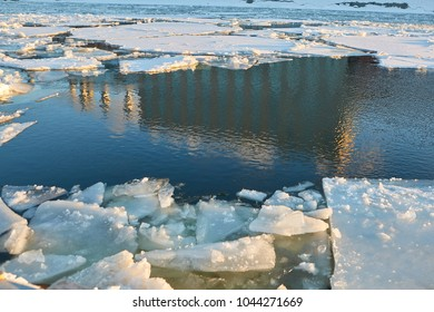 Ice drift. Ice floes on the Moscow River.