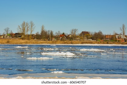 Ice drift on the Neva river in the month of March.