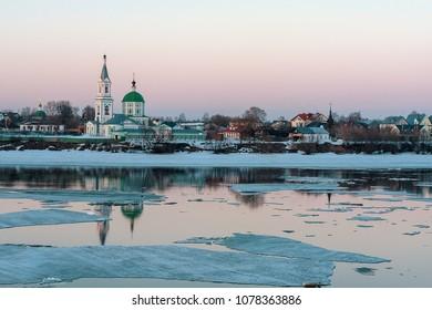 Ice drift on the Volga river in Tver