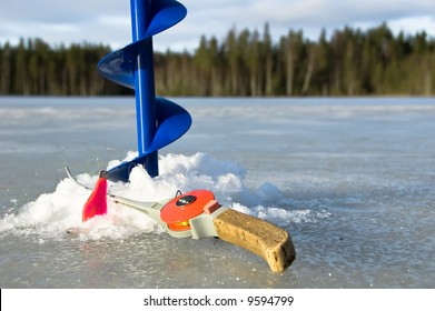 Ice drill and ice fishing rod