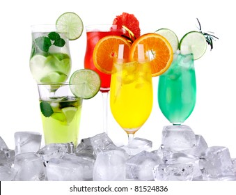 Ice drinks isolated on white background