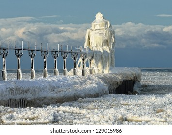 Ice encased St. Joseph Lighthouse Lake Michigan