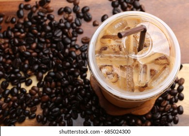 ice espresso on wood floor