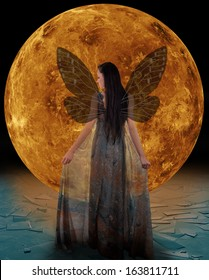 Ice fairy in front of a Venus. Elements of this image furnished by NASA.