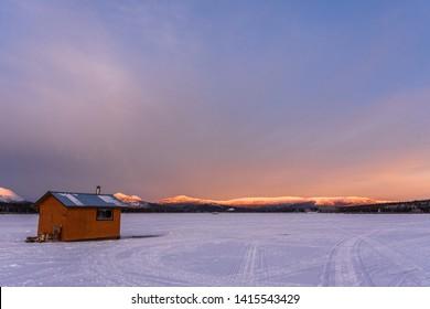 Ice Fishing Cabin on a Frozen Lake in the Yukon Territory, Canada
