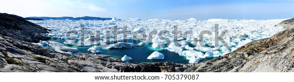 Ice fjord. Greenland, Baffin sea.