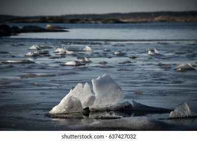 Ice flakes on water