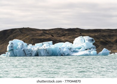 Ice floating in Jokulsarlon, a large glacial lake in southeast Iceland, Vatnajokull National Park