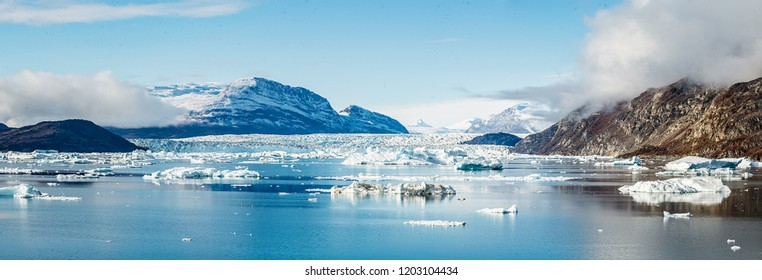 Ice floating in Scoresbysund Fjord, eastern Greenland.