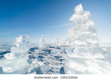 Ice floe crystals and sun over winter Baikal lake