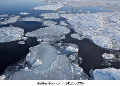 Ice Floe of Gerlache Strait in Antarctic