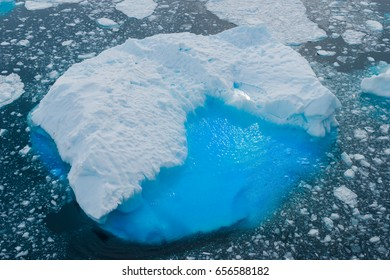 Ice floe on a sunny day in Antarctica from above