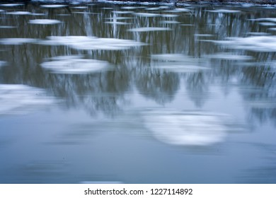 Ice floe in the river