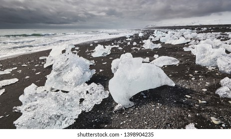 Ice floes at a beach in Iceland