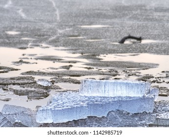 Ice floes breaking on black rocky beach. Cracked ice on  black sand beach with gradual melting of Ice, winter season