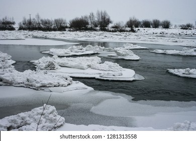 Ice floes and ice islands in the river Mures, close to the city of Targu Mures in Transylvania, Romenia.