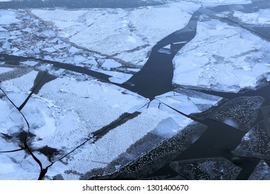Ice floes on the river. Cold and heat are always fighting among themselves. But the heat is now prevailing. The ice floes began their swimming, creating a beautiful picture with the water,