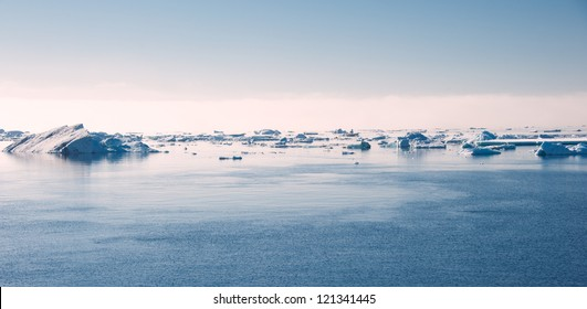 Ice floes on the sunset in Antarctica