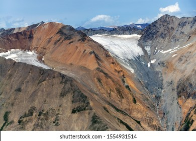 Ice flows in the mountains above Lowell glacier in Kluane National Park, Yukon, Canada