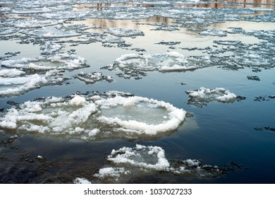Ice flows on a river in winter