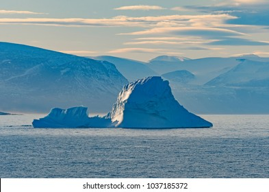 Ice, Fog, and Mountains in the High Arctic of  Isabella Bay of the  Ninginganiq National Wildlife Area on Baffin Island in Nunavut, Canada