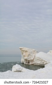 Ice formation along the beach in Lake Michigan.