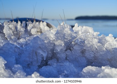 Ice formations by the Baltic Sea in Helsinki, Finland