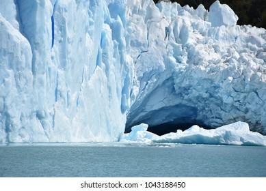 Ice formations on a wall of the Perito Moreno Glacier, Parque Na