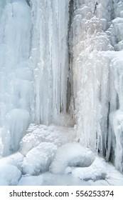 Ice, Frozen at waterfall cascade in mountain Mecsek in winter-Hungary