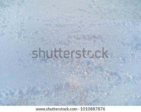 Ice Frozen Window Texture Background Blue Snow Frosted Winter Wallpaper With Snowflake Textured Glade Pattern