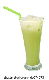 Ice Green tea, famous drink isolated on white background, Clipping path