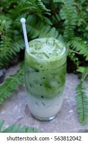 Ice green tea in glass