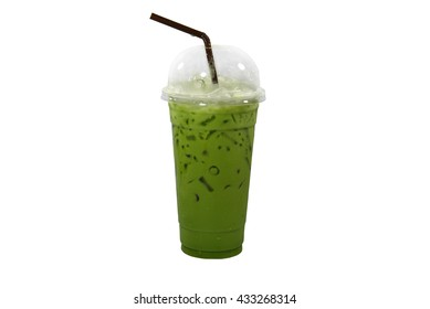 ICE Green tea in a glass of cold milk, isolated on white background.