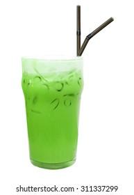 Ice green tea isolate on white backgruond.
