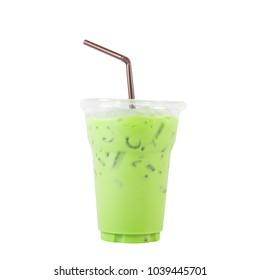 Ice green tea on white background