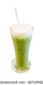 Ice green tea on white background with clipping path