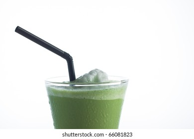 ice Green tea with a straw isolated on white background.