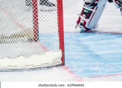 ice hockey goalie during a game