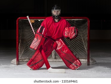 Ice hockey goalie in front of a goal net