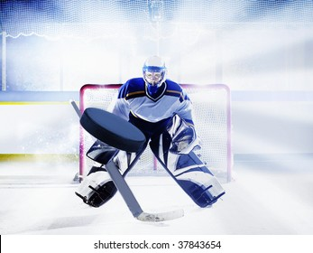 ice hockey goalie in goal