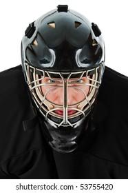Ice hockey goalie portrait. Photo on white background