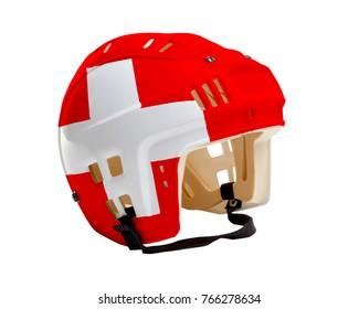 Ice hockey helmet with flag of Switzerland painted on it. Isolated on white background. Switzerland is one of the world's major ice hockey nations.