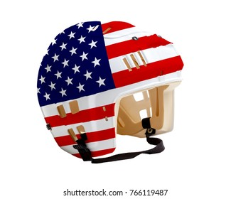 Ice hockey helmet with United States flag painted on it. Isolated on white background. USA is one of the world's major ice hockey nations.