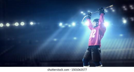 Ice hockey player celebrating victory