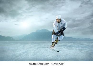 Ice hockey player on the ice.