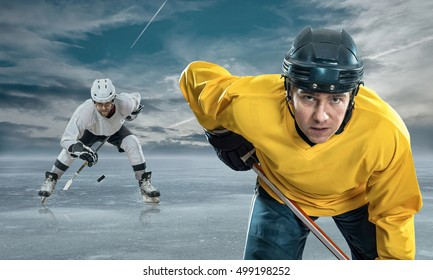 Ice hockey player on the ice in mountains