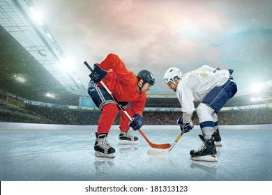 Ice hockey player on the ice. Open stadium - Winter Classic game.