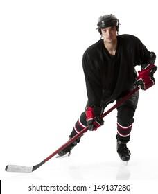 Ice hockey player skating