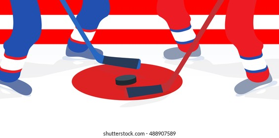 Ice Hockey Player with Stick and Puck.  Illustration.