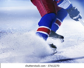 ice hockey player stoping on ice close up